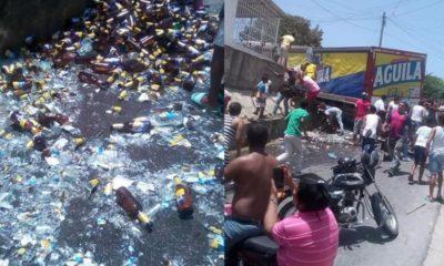 Fueron robadas 170 cajas de cerveza Águila.
